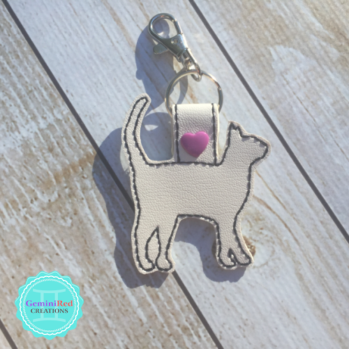 Cat Silhouette Embroidered Vinyl Key Fob