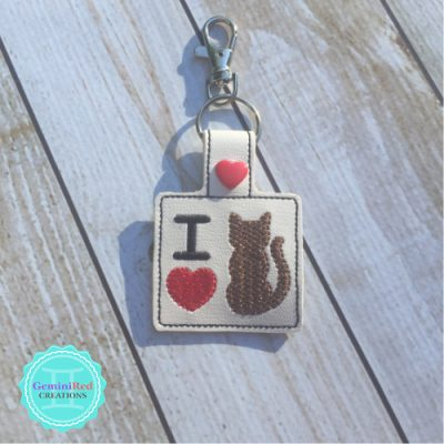I *heart* Cats Embroidered Vinyl Key Fob