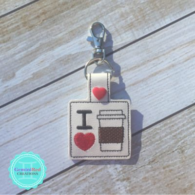 I *heart* Coffee Embroidered Vinyl Key Fob