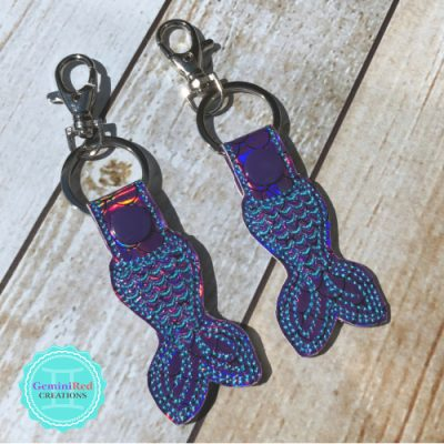 Mermaid Tail Embroidered Vinyl Key Fob