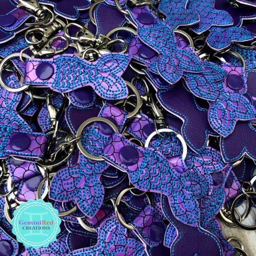 Mermaid Tail Embroidered Vinyl Key Fob