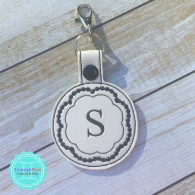 Decorative Round Embroidered Vinyl Key Fob