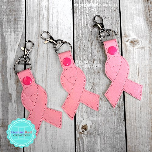 Pink Ribbon Embroidered Vinyl Key Fob