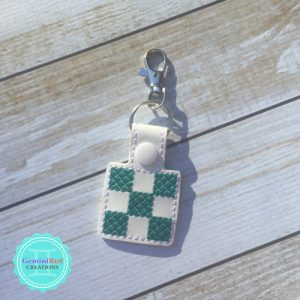 Quilt 9 Patch Embroidered Vinyl Key Fob