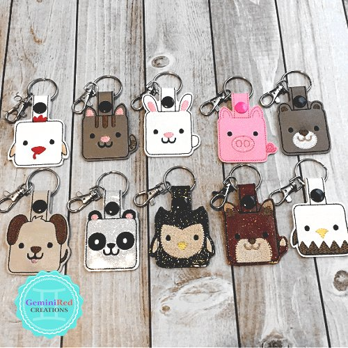 Square Animal Key Fobs