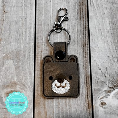 Square Bear Embroidered Vinyl Key Fob