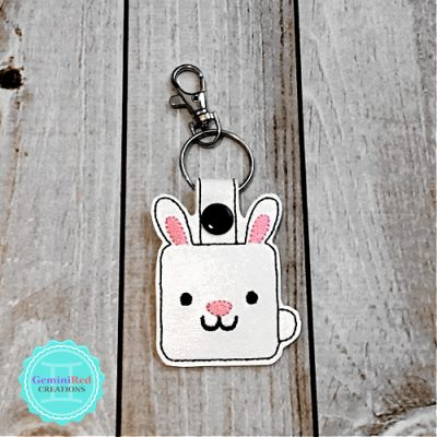 Square Bunny Embroidered Vinyl Key Fob