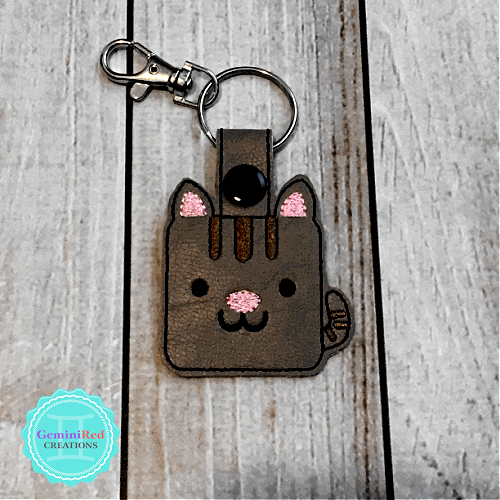 Square Kitty Embroidered Vinyl Key Fob