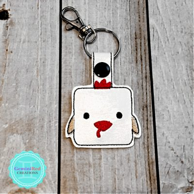 Square Chicken Embroidered Vinyl Key Fob