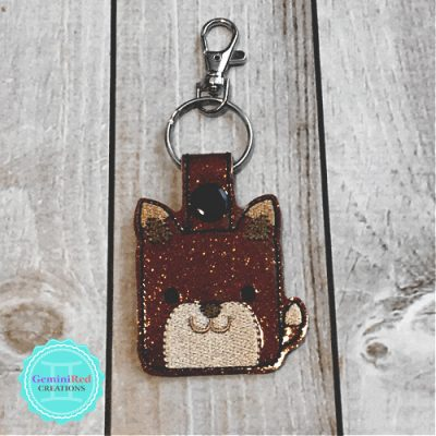 Square Fox Embroidered Vinyl Key Fob