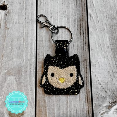 Square Owl Embroidered Vinyl Key Fob