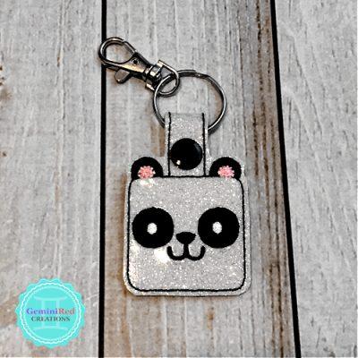 Square Panda Embroidered Vinyl Key Fob