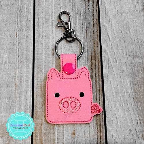 Square Piggy Embroidered Vinyl Key Fob