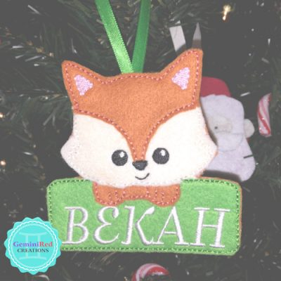 Fox Personalized Embroidered Ornament