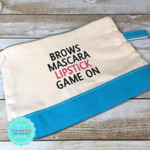 Brows Game On Canvas Cosmetic Bag