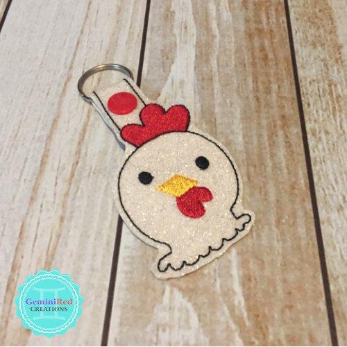 Chicken Head Embroidered Vinyl Key Fob