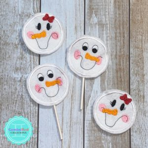 Snow People Embroidered Lollipop Covers