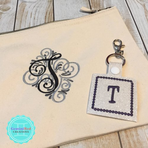 Canvas Zip Pouch with Scroll Monogram