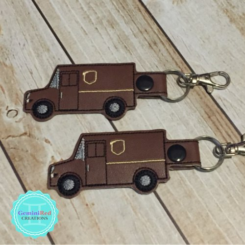 Brown Delivery Truck Embroidered Vinyl Key Fob