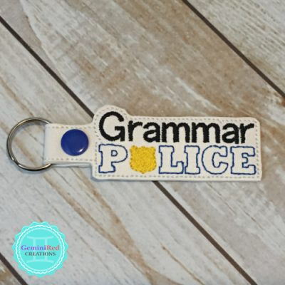 Grammar Police Embroidered Vinyl Key Fob