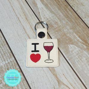 I *heart* Wine Embroidered Vinyl Key Fob