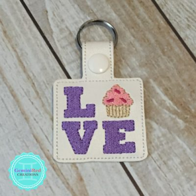 Love Cupcakes Embroidered Vinyl Key Fob