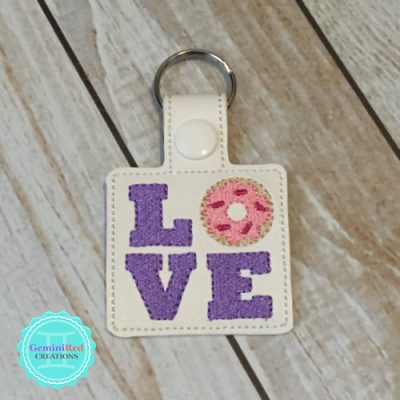 Love Donuts Embroidered Vinyl Key Fob