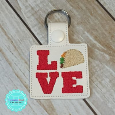 Love Tacos Embroidered Vinyl Key Fob