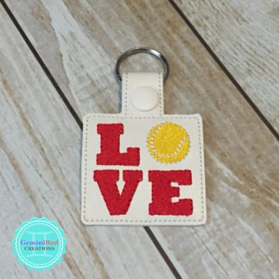 Love Tennis Embroidered Vinyl Key Fob
