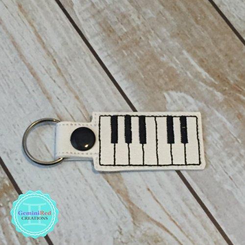 Piano Keys Embroidered Vinyl Key Fob