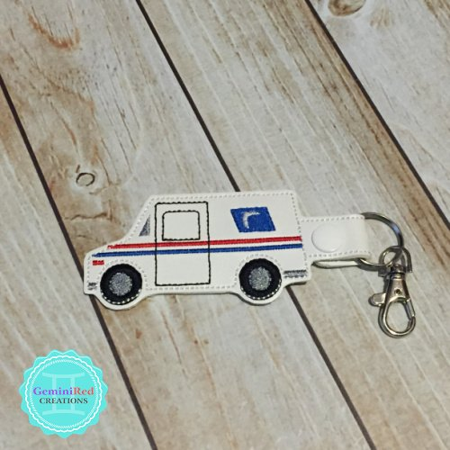 Mail Truck Embroidered Vinyl Key Fob