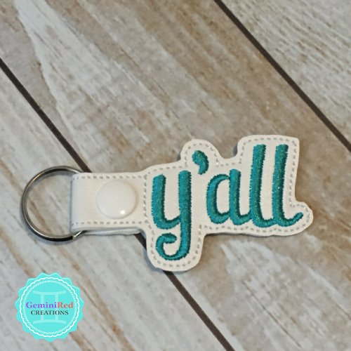 Y'all Embroidered Vinyl Key Fob