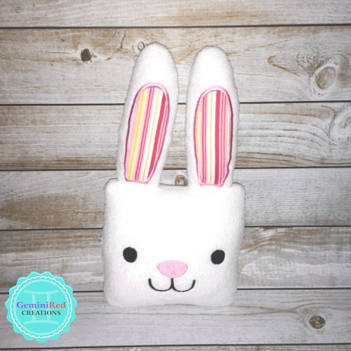 Squarimal Bunny Embroidered Fleece Stuffie