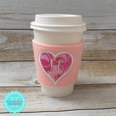 Coffee Cup Wrap {Heart Monogram}