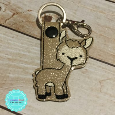 Llama | Alpaca Embroidered Vinyl Key Fob
