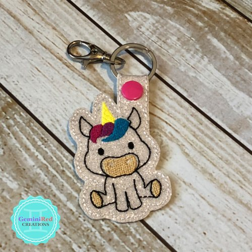 Sitting Unicorn Embroidered Vinyl Key Fob