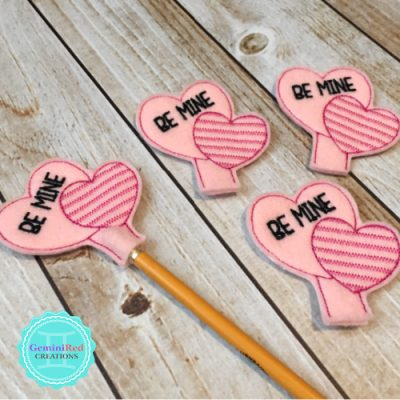 Be Mine Double Heart Pencil Toppers
