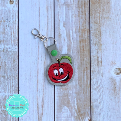 Silly Apple Vinyl Embroidered Key Fob