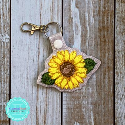 Sunflower Vinyl Embroidered Key Fob