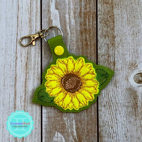 Sunflower Appliqué Vinyl Embroidered Key Fob
