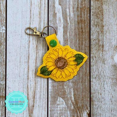Sunflower Outline Vinyl Embroidered Key Fob