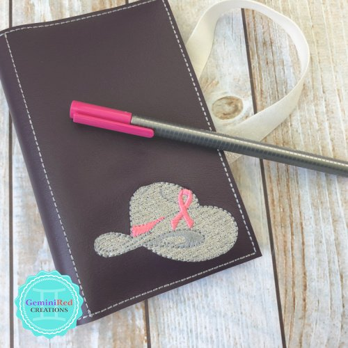 Notebook Cover Pink Ribbon Cowboy Hat