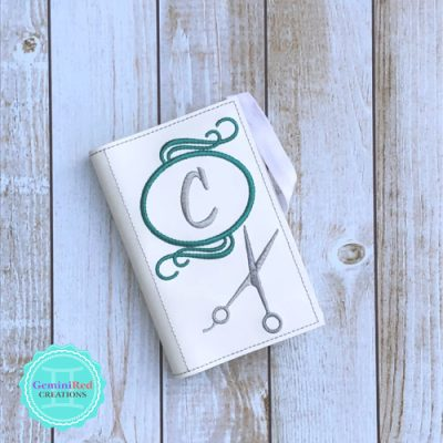 Stylist Scissors Round Monogram Notebook Cover