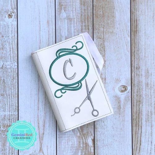 Stylist Scissors Round Monogram Notebook Cover