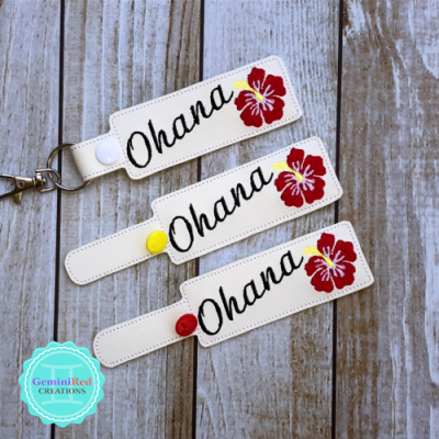 Ohana Hibiscus Vinyl Embroidered Key Fob