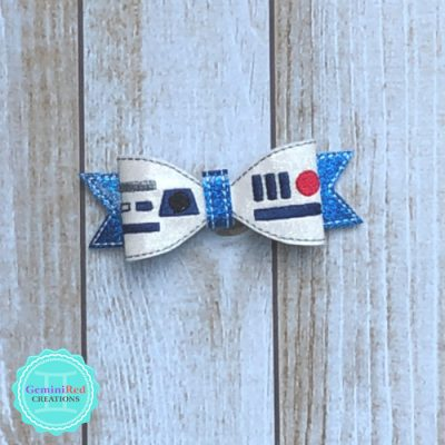 Space Robot Bow Hair Clip