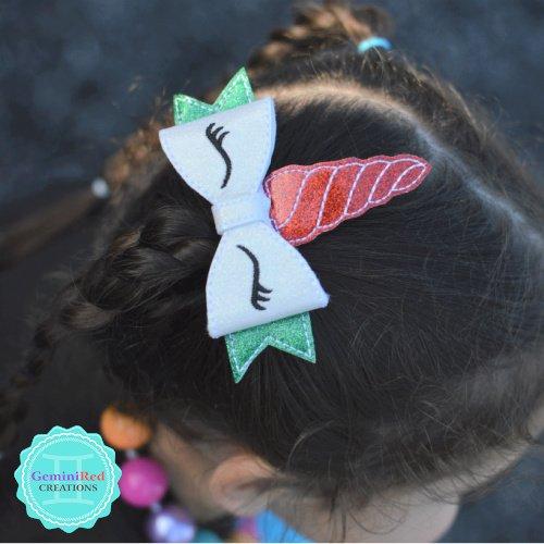 Unicorn Christmas Hair Clip