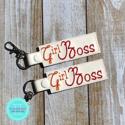 Girl Boss Vinyl Embroidered Key Fob