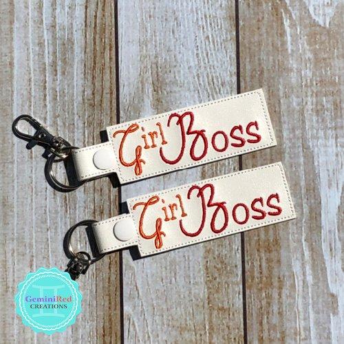Girl Boss Vinyl Embroidered Key Fob