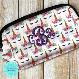 Unicorn Neoprene Cosmetic Bag {monogrammed}
